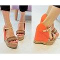 【米蘭秀】韓國空運【真皮小牛皮手工訂製鞋】波西米亞風民族味十足麻繩編織坡跟涼鞋包跟高跟鞋