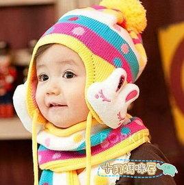 十月媽咪屋~~C2929011~ 兒童彩虹帽 大兔護耳帽 毛線帽 公仔護耳帽 寶寶帽 嬰兒