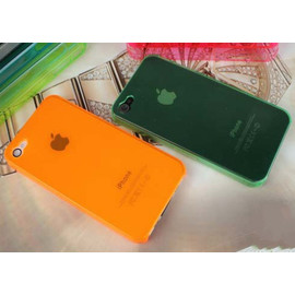 0.7mm超薄 iPhone 4s/4  日本蘋果手機套/手機殼/保護套 (橘/綠)