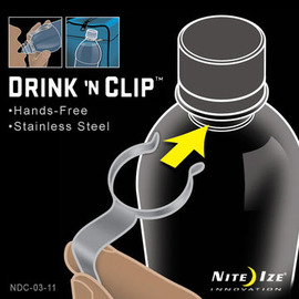 【美國 NITE IZE】Drink 'N Clip Stainless瓶掛夾.7字瓶扣.配一個塑膠8字扣.一卡一入-不銹鋼.適用市面上大多數的保特瓶 NDC-03-11
