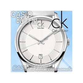 CASIO 時計屋 瑞士CK手錶 Calvin Klein K2H21101 純白皮革錶帶 極簡商務男錶 保固 附發票