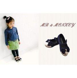 韓童鞋MB & Monkey~女童氣質蝴蝶結娃娃鞋(藍/綠)可挑【HH婦幼館】