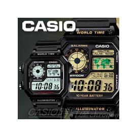 CASIO 時計屋 卡西歐手錶 AE~1200WH 男錶 電子錶 膠質錶帶 黑 藍 方形