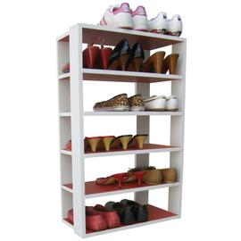 ~愛家~六層開放式鞋架 置物架^(紅色 白色^)~SS06WW~RDWH