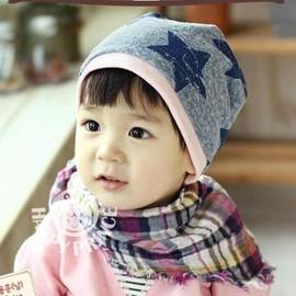 百搭~灰色五角星~可愛保暖帽 套頭帽 BH