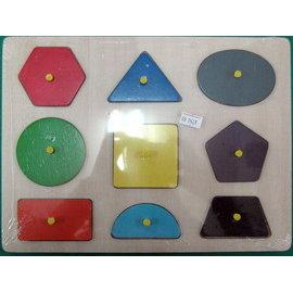 木製拼圖~9種形狀顏色^(附手把^) 缺貨