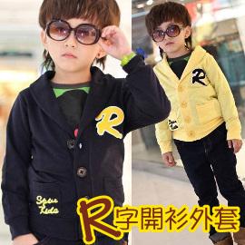 免 ~買窩^~韓製四季實穿寶貝 的小外套~最簡單的 美 ~ 百搭R字母前扣式開衫棉質小外套