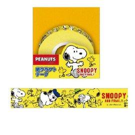 SNOOPY^(史努比^) 紙膠帶 黃色滿版  4991277669549