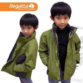 【英國 REGATTA 】單件式 兒童RR防水透氣保暖外套.雪衣.夾克.防風.耐磨.輕量(中間舖保溫棉)/洋薑綠-鐵灰 RKP023 (非Samlix)(非羽絨)
