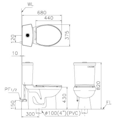 欲装马桶的墙壁与排水管的中心点之距离