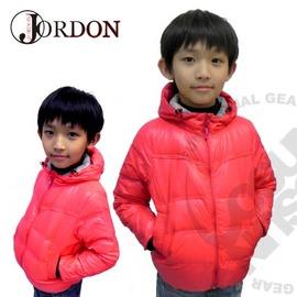 【台灣-Jordon】兒童超輕連帽羽絨外套.保暖外套.連帽.羽絨.輕.易收納.防風.撞色/紅莓 204