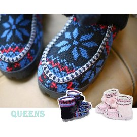 QUEENS~ S725^#~北歐風 ~皮草短靴 ~ 防滑膠底雪靴~毛線靴 35^~36號
