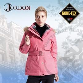 【橋登 Jordon】女款 GORE-TEX二合一格紋外套 / 兩件式防水透氣羽絨外套.耐寒保暖.雪衣 1088-灰玫