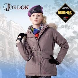 【橋登 Jordon】女款 GORE-TEX二合一格紋外套 / 兩件式防水透氣羽絨外套.耐寒保暖.雪衣 1088-芋灰