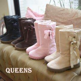 QUEENS ~ R17^# ~兩孔側邊綁帶~ 防滑膠底雪靴  中筒靴~ 35 ^~ 37