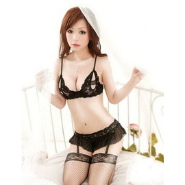 ♀E~Plus 情趣♂魅力四射 ~ 蕾絲柔紗 吊襪帶性感露乳比基尼情趣睡衣^~B10^~