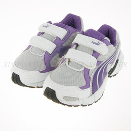 6折出清~PUMA~中大童黏扣帶慢跑鞋-灰/紫(186132-03)