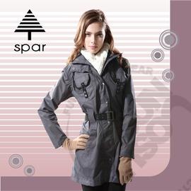 【SPAR】女款 防水風衣外套.保暖外套 / 防風.透氣.舒適.保暖.時尚有型 / SC101985 黑/灰條紋