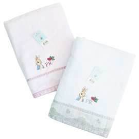 彼得兔提緞精繡大浴巾(加厚加長款!!)(PR395-BT)  *最新款3色可選!!!*