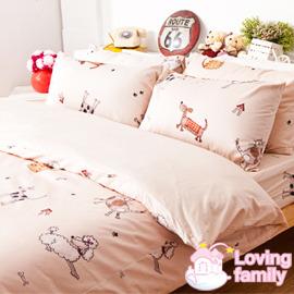 ~戀家小舖~精梳棉床組單人床 一件枕套~可愛家族