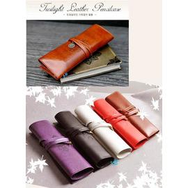 (特賣)歐洲古典紋飾 復古捆綁式三折皮質 筆袋  化妝袋