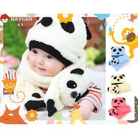【HH婦幼館】韓版 熊貓造型帽子+圍巾兩件套/毛絨保暖帽 (多色可挑)