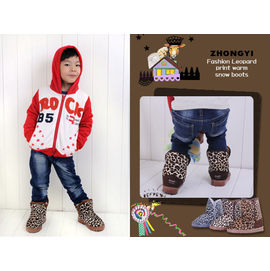 【HH婦幼館】ZHONGYI豹紋兒童保暖雪靴/童鞋(三色)