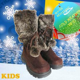 【雪精靈】《送雪襪》專業保暖兒童雪鞋(附冰爪)系列-內層保暖絨毛 兒童雪靴 防雪.防滑.滑雪.雪地行走.親子靴/咖啡 SN163C