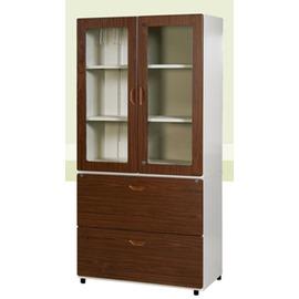 ~玩辦OA辦公 ~二大抽 106高玻開胡桃鋼木櫃