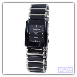 ~LONGBO~ 款~優雅簡約方型 錶~黑 男錶 女錶 對錶
