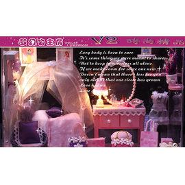 ~V2  ~中型 聖誕  DIY迷你小屋 帶燈 玻璃屋系列 夢幻 公主房 B款^! ^~