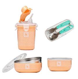 美國【Kangovou】 小袋鼠不鏽鋼安全兒童餐具簡配組(奶油橘)+不鏽鋼湯叉組