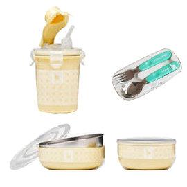 美國【Kangovou】 小袋鼠不鏽鋼安全兒童餐具簡配組(檸檬黃)+不鏽鋼湯叉組