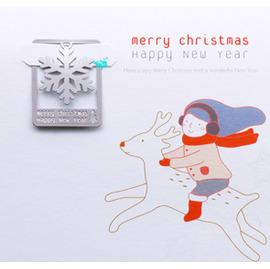聖誕限定款 雪花 金屬書籤+贈賀卡+信封