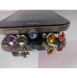 水鑽/鑲鑽型金屬材質  3.5MM耳機防塵塞套 )X5組  適用ipad MP3/蘋果iPhone4 3G/3GS ipad