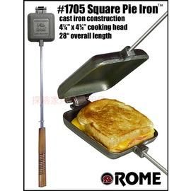 1705美國ROME羅馬鑄鐵達人 三明治烤盤 方型鑄鐵烤盤烤具(可搭配焚火台用)