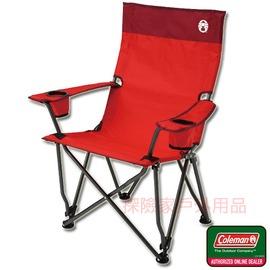 CM-0504 美國Coleman 高背舒壓椅 高背導演椅 休閒躺椅 戶外休閒 (紅)