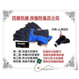 大林小草~【JL-GM1】男款-頂級3M中空纖維Thinsulate四層防護防寒、防水手套