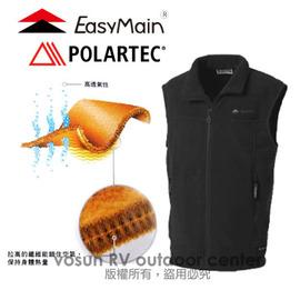 【EasyMain 衣力美】新款 POLARTEC Classic 200DWR Recycle中性保暖防潑水背心/抗風.抗潑水.保暖.彈性佳.透氣.耐用/黑 V1156 C