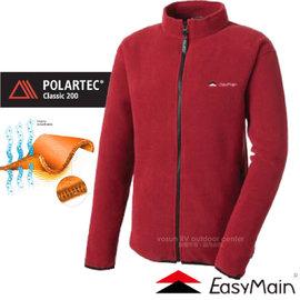 【EasyMain 衣力美】新款 POLARTEC Classic 200DWR Recycle中性保暖防潑水外套/抗風.抗潑水.保暖.彈性佳.透氣.耐用/暗紅 C0694 C