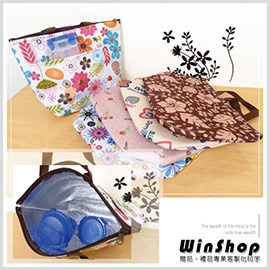 【Q禮品】A1464 日韓流行繽紛多彩保暖保冷袋-大/便當袋飯盒袋手提袋野餐袋保冰袋保溫袋