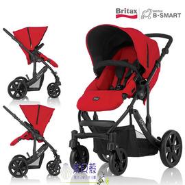 【紫貝殼】『GA11』英國Britax B-smart雙向四輪手推車.高景觀(紅) 【保證原廠公司貨/保固一年】
