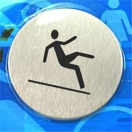 小心地滑 標示貼/標籤貼 (金屬表面)