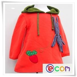 ~草莓 小舖~ e圈圈.com ^( 加碼款^) 撞色蘿蔔兔子娃娃 厚棉刷毛 連帽長版上衣