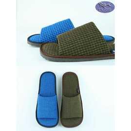 菲賣品  MIT微笑標章日式細格紋寬版鞋面左右腳加大尺寸室內拖鞋 101C092