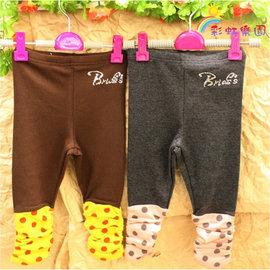 ♫彩虹樂園♫^~813185^~二色可愛褲腳點點皺摺水鑽內搭褲 長褲^~^(3~21^)♫