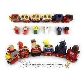 可愛面包超人變身小列車磁鐵木製玩具六件組/益智玩具【HH婦幼館】