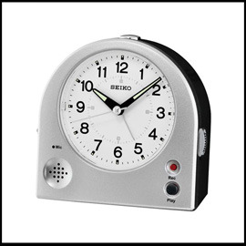 ~滾石鐘錶~SEIKO精工 滑動靜音秒針 可20秒自錄鈴聲  式鬧鈴 貪睡、燈光及夜光 鬧