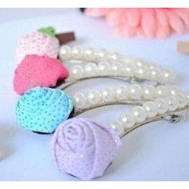 卓本小妞 韓國可愛甜美 珍珠玫瑰花髮夾 髮飾邊夾