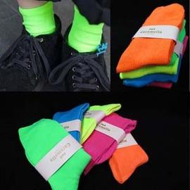 日本原宿 超人氣  螢光派對短襪  ◇/螢光糖果色棉質彈性襪中筒襪 /螢光襪堆堆襪